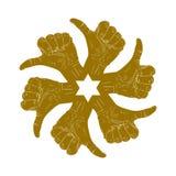 Seis pulgares encima de la mano firman adentro alrededor de símbolo abstracto Fotos de archivo libres de regalías