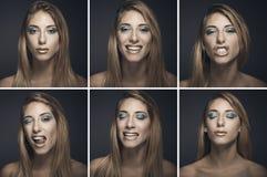 Seis retratos de mujer joven atractiva en diversas expresiones Fotos de archivo