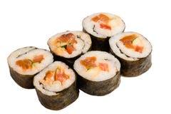 Seis rollos de sushi desde arriba aislados en blanco Fotos de archivo