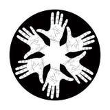 Seis símbolos abstractos de las manos abiertas, vector blanco y negro detallado Fotografía de archivo
