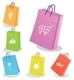 Seis sacos de compra. Foto de Stock Royalty Free