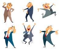 Seis saltos do homem de negócios Fotografia de Stock