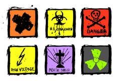 Seis señales de peligro, sucias, vector EPS Imagenes de archivo
