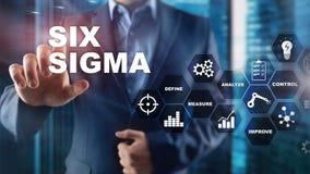 Seis Sigma, fabricação, controle da qualidade e processo industrial melhorando o conceito Negócio, Internet e tehcnology fotos de stock royalty free