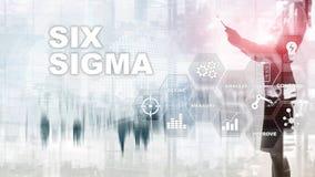 Seis Sigma, fabricação, controle da qualidade e processo industrial melhorando o conceito Negócio, Internet e tehcnology fotografia de stock
