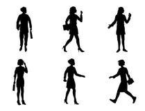 Seis silhuetas das mulheres de negócios Imagem de Stock