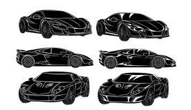 Seis silhuetas dos carros Fotografia de Stock