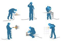 Seis silhuetas dos soldadores Imagem de Stock Royalty Free