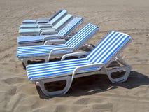 Seis sillas de playa Fotografía de archivo libre de regalías