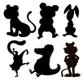 Seis siluetas de animales salvajes Imagenes de archivo