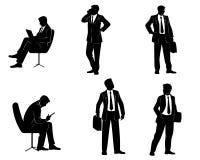 Seis siluetas de los hombres de negocios Fotografía de archivo libre de regalías