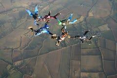 Seis skydivers Foto de archivo