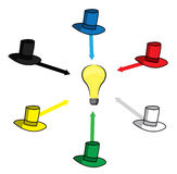 Seis sombreros de pensamiento Imagen de archivo libre de regalías
