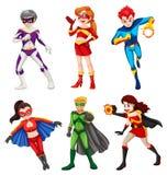 Seis super-herói ilustração stock