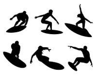 Seis surfistas Fotografia de Stock Royalty Free