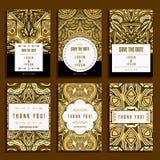 Seis tarjetas con los ornamentos de oro Imagen de archivo libre de regalías
