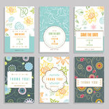 Seis tarjetas con los ornamentos florales Foto de archivo