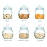 Seis tarros de cristal con los cereales en ellos