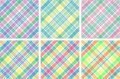 Seis telas escocesas en colores pastel Imagenes de archivo
