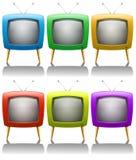 Seis televisiones con la antena Fotografía de archivo
