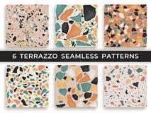 Seis testes padrões sem emenda do terraço Mão crafted e testes padrões originais que repetem o fundo Formas textured granito dent ilustração stock