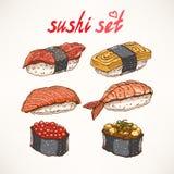 Seis tipos diferentes do sushi Imagem de Stock Royalty Free
