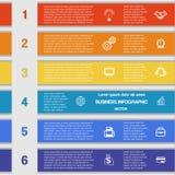 Seis tiras de color, plantilla de 6 posiciones con áreas de texto stock de ilustración