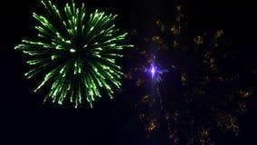 Seis tiros de fuegos artificiales en el cielo estrellado almacen de metraje de vídeo