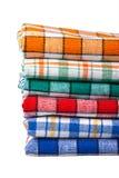 Seis toallas de cocina coloreadas Imágenes de archivo libres de regalías