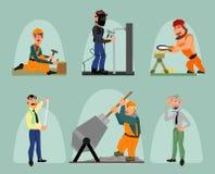 Seis trabalhadores ajustados Fotos de Stock Royalty Free