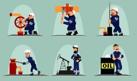Seis trabalhadores do óleo Imagens de Stock Royalty Free