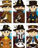 Seis vaqueros lindos de la historieta stock de ilustración