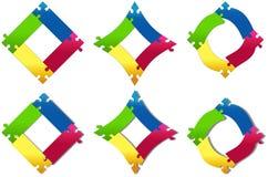 Seis variações coloridas enigma dos quadrados Imagem de Stock