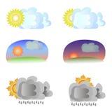 Seis variantes del tiempo - sol y nubes Imagenes de archivo