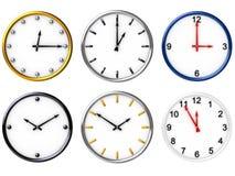 Seis varios relojes Foto de archivo