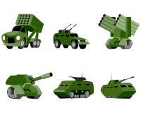 Seis veículos militares ilustração stock