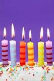 Seis velas del cumpleaños Fotografía de archivo