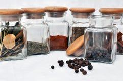 Seis vidrios de especia y de pimienta inglesa imágenes de archivo libres de regalías
