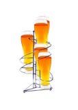 Seis vidrios de la cerveza en soporte imágenes de archivo libres de regalías