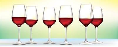 Seis vidros de vinho vermelho Imagem de Stock