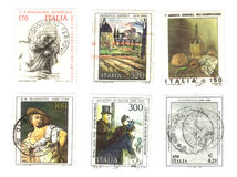 Seis viejos sellos del italiano Foto de archivo