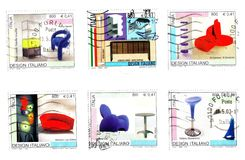 Seis viejos sellos italianos Foto de archivo libre de regalías