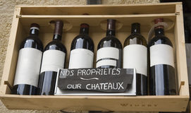 Seis vinos famosos en una fila Foto de archivo libre de regalías