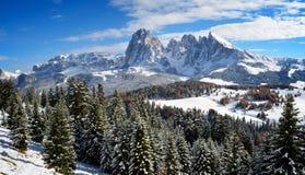 Seiser Alm在冬天 免版税库存图片