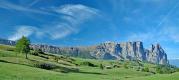Seiser Alm e montagna di Schlern, Tirolo del sud, Italia Fotografie Stock Libere da Diritti