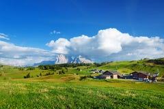 Seiser Alm, il prato alpino di più grande elevata altitudine in Europa, montagne rocciose di stordimento sui precedenti Immagini Stock Libere da Diritti