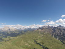 Seiser Alm Italy. View from a paraglider over the landscape with the Dolomites in the background Royalty Free Stock Image
