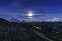 Seiser Alm Moonrise Obraz Royalty Free