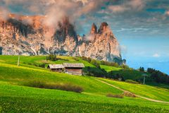 Free Seiser Alm Resort And Mount Sciliar In Background, Dolomites, Italy Stock Photography - 128239302