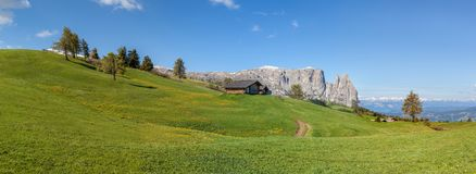 The Seiser Alm with a view of the Schlern Stock Photo